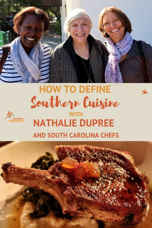 Pinterest pin of Nathalie Dupree and Southern Cuisine and Authentic Food Quest