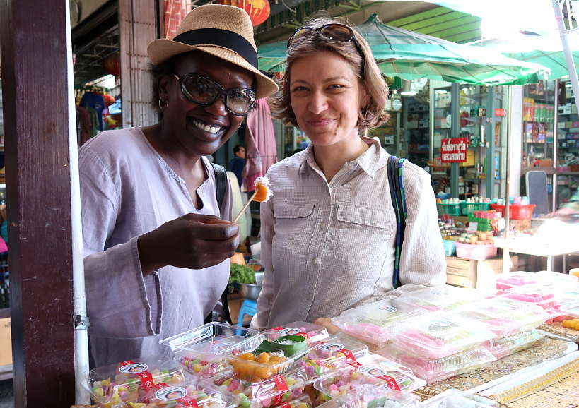 San Chao Rong Thong Market with Rosemary and Claire eating Thai Dessert Stall on Ayutthaya Day Tour by Authentic Food Quest