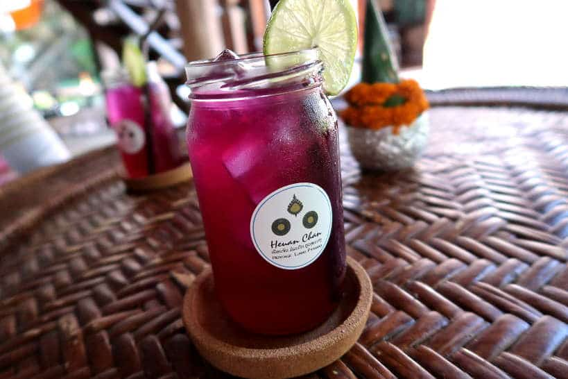 Butterfly Pea Flower Juice for Huen Chan Heritage House by Authentic Food Quest for Luang Prabang cooking class