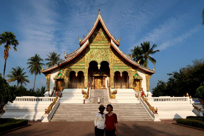Claire and Rosemary In Front of the Royal Palace in Luang Prabang by Authentic Food Quest