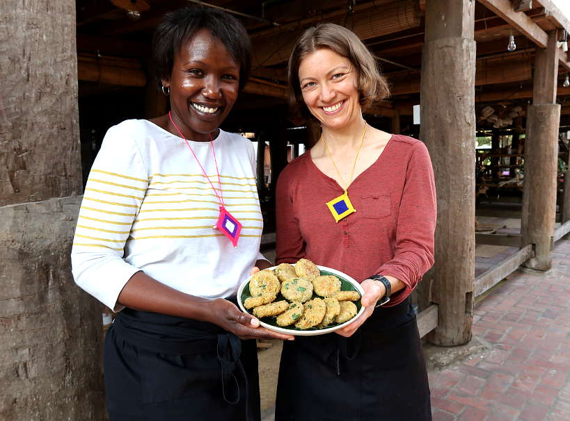 Rosemary and Claire at the Luang Prabang Cooking Class by Authentic Food Quest