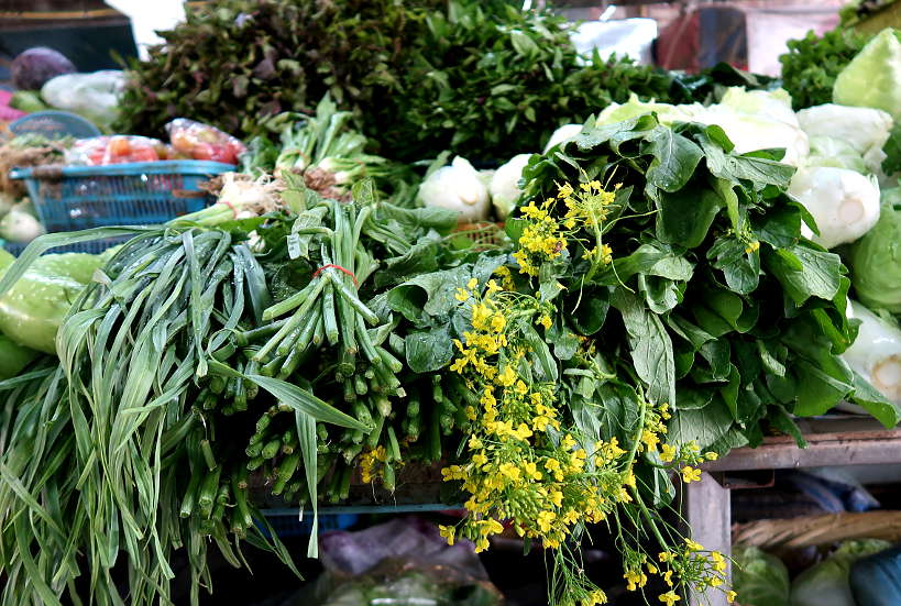Thai Herbs Chiang Mai Market for Chiang Mai FoodTour with A Chefs Tour by Authentic Food Quest. Indigenous herbs seen on Chiang Mai Food Tour