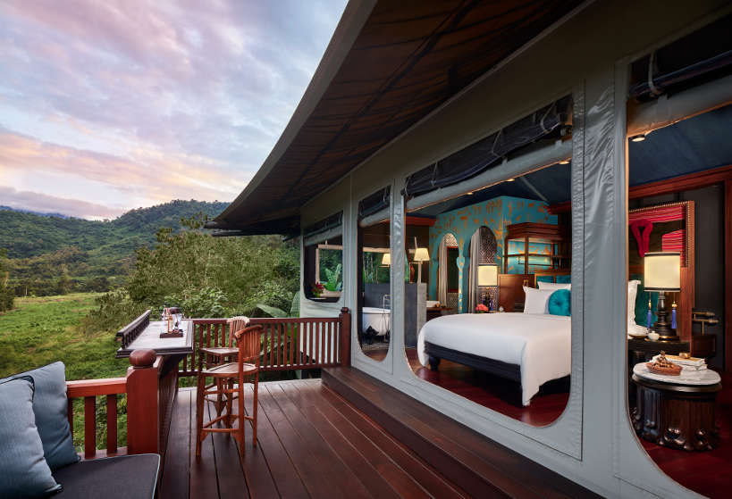 View from the Hilltop Tent at Rosewood for Best Hotel in Luang Prabang by Authentic Food Quest