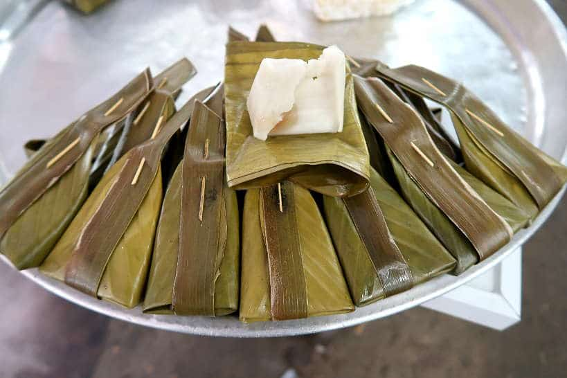 Banana Leaves Desserts at Warorot Market for Food Chiang Mai by Authentic Food Quest