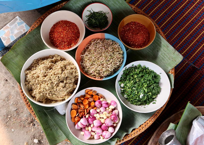 Ingredients to make Northern Thai Sausage by Authentic Food Quest