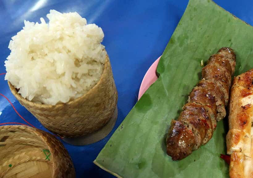 Sticky Rice With Laos Sausage for Laos Food by Authentic Food Quest