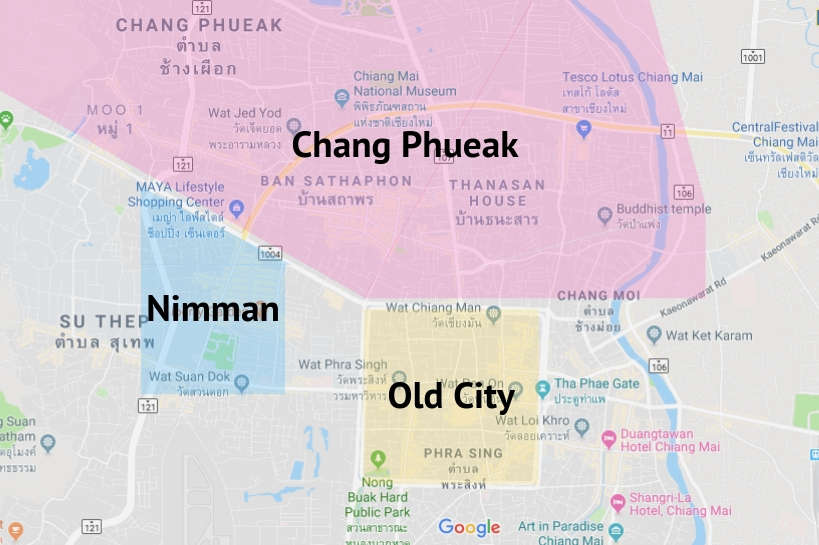 Chiang Mai Map so that you find Where to Stay in Chiang Mai by Authentic Food Quest