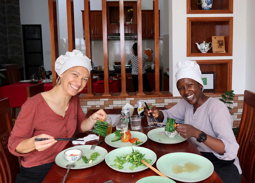 Claire and Rosemary Eating at the end of their Hoi An Cooking Class Authentic Food Quest