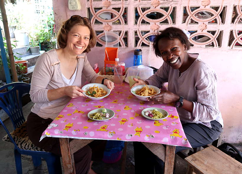 Claire and Rosemary at Arak Restaurant in Chiang Mai on their quest for the Best Khao Soi in Chiang Mai Authentic Food Quest