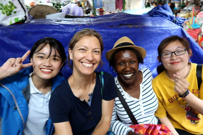Claire and Rosemary with our guides for our Danang Tour by Authentic Food Quest