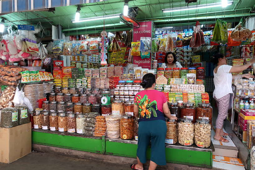 Market Vendor Outside Cho Con Market Danang by Authentic Food Quest