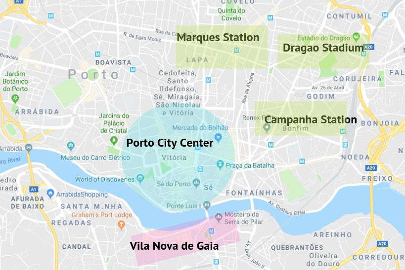 Map of Where to Stay in Porto by Authentic Food Quest