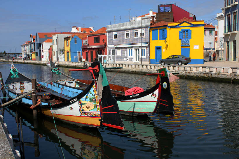Moliceiros colorful boats on the canal of Aveiro