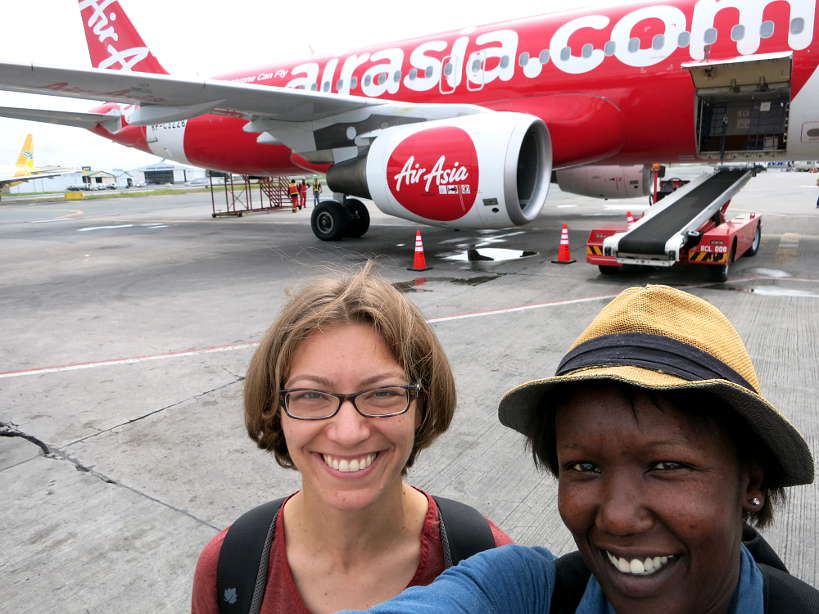 Claire and Rosemary traveling to Thailand on Air Asia