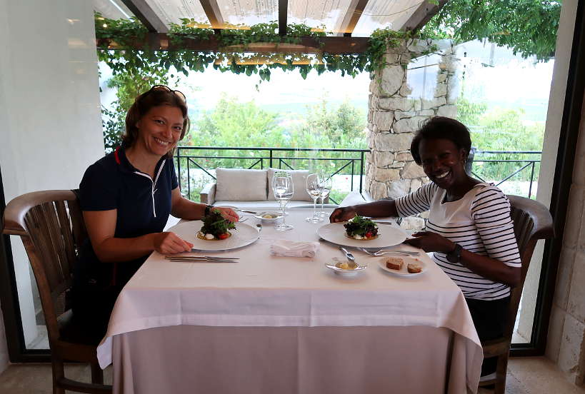 Claire and Rosemary at aEstivum Restaurant at Zornitza Family Estate by Authentic Food Quest