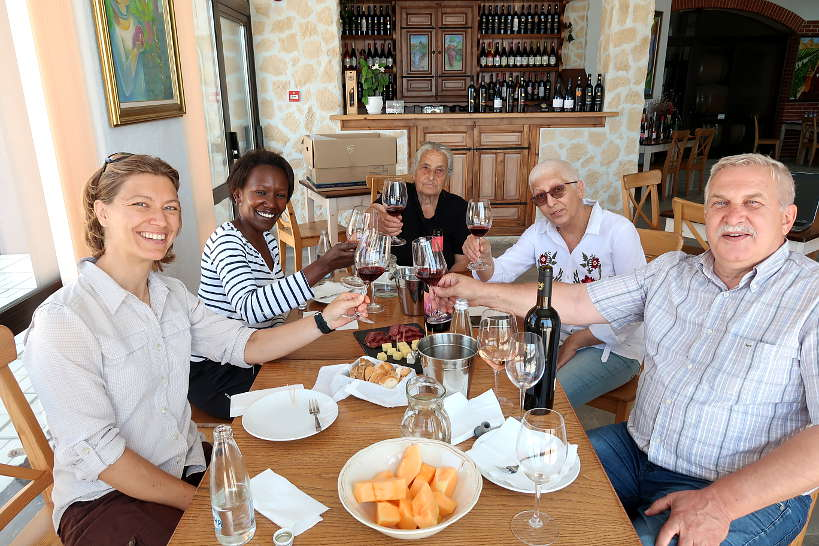 Claire and Rosemary tasting Wines in Melnik Bulgaria by Authentic Food Quest