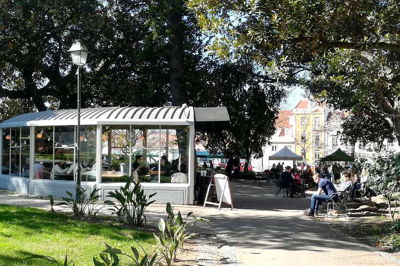Cafe inside the park Jardim de Principe Real in Lisbon Authentic Food Quest