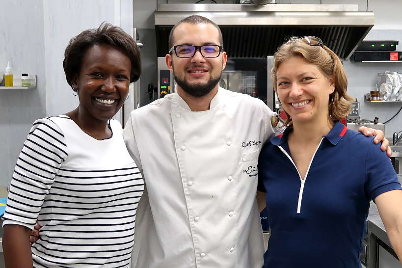 Rosemary and Claire and Chef Spasova at aEstivum Restaurant by Authentic Food Quest