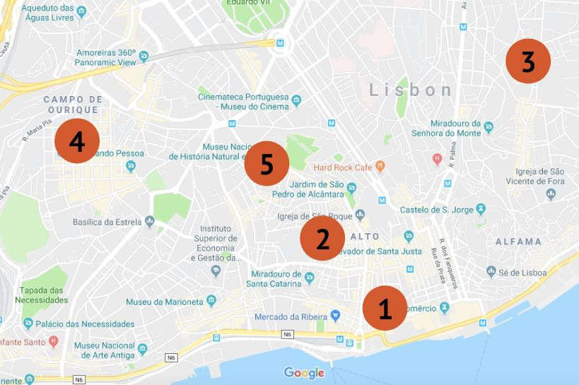 Map of the five best areas where to stay in Lisbon by Authentic Food Quest
