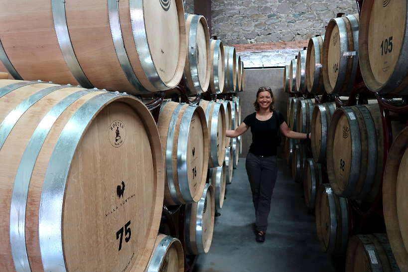 Claire in the cellar of Villa Yustina Winery Bulgaria by Authentic Food Quest