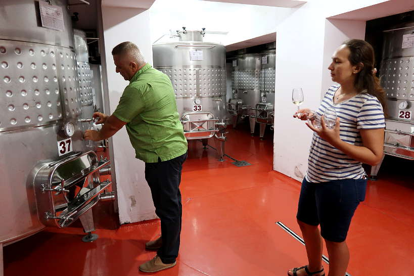 Pavel Serving Tamianka Wine in Melnik Bulgaria by Authentic Food Quest