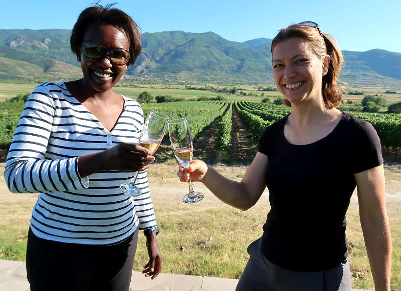Rosemary and Claire at Villa Yustina Tasting Bulgarian Wine by Authentic Food Quest