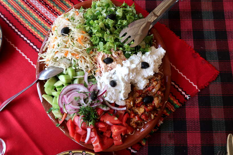 Traditional Bulgarian salad platter from Mehana Aleksova Kashta Melnik Bulgaria by AuthenticFoodQuest