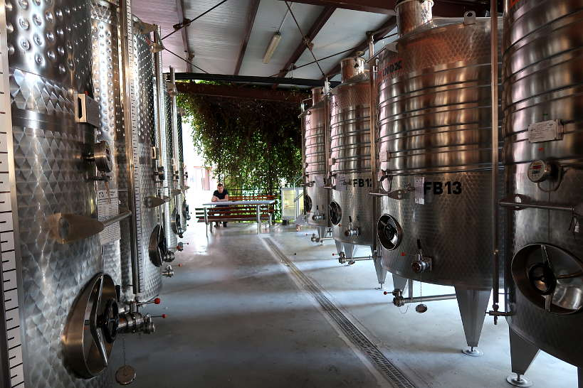 Steel Tank at Villa Yustina Winery Bulgaria by Authentic Food Quest
