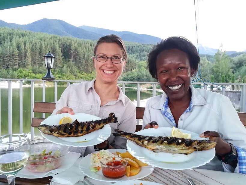 Claire and Rosemary at Krinetz Restaurant Bansko Restaurants Bulgaria by AuthenticFoodQuest.jpeg