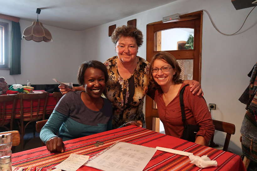 Rosemary and Claire with with Rayna at One of the best Restaurants in Bansko Bulgaria by AuthenticFoodQuest