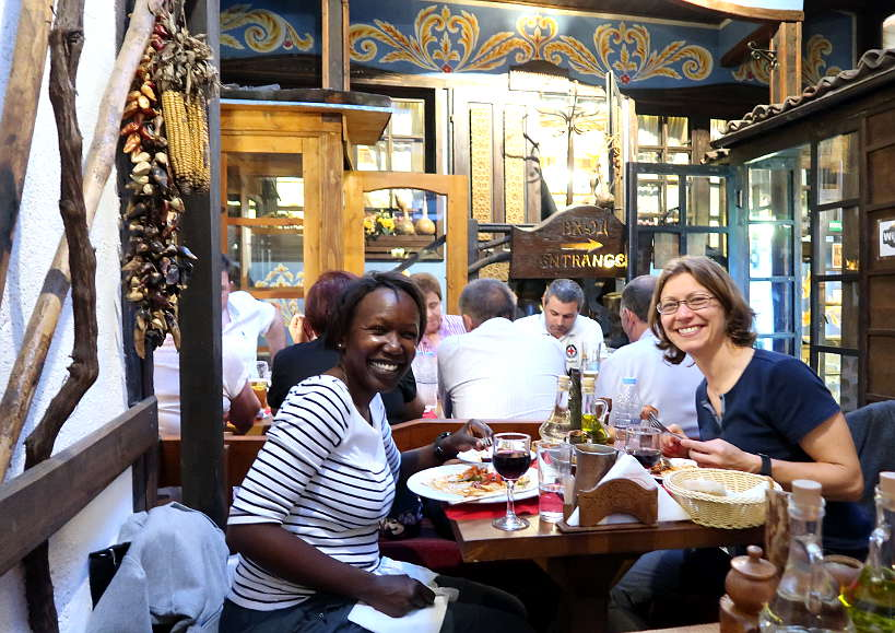 Rosemary and Claire at Hadjidraganov's House restaurant in Sofia