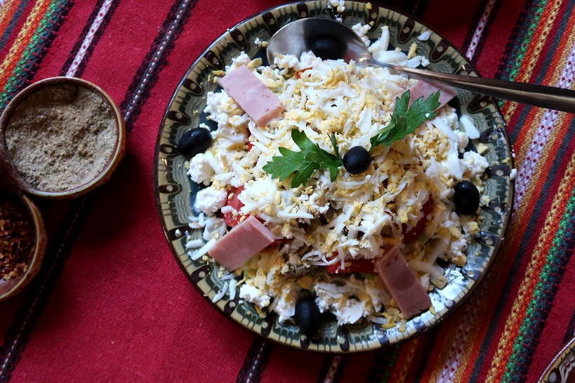 Shepherd's Salad at Baryakova Mehana Restaurant in Bansko Bulgaria by AuthenticFoodQuest