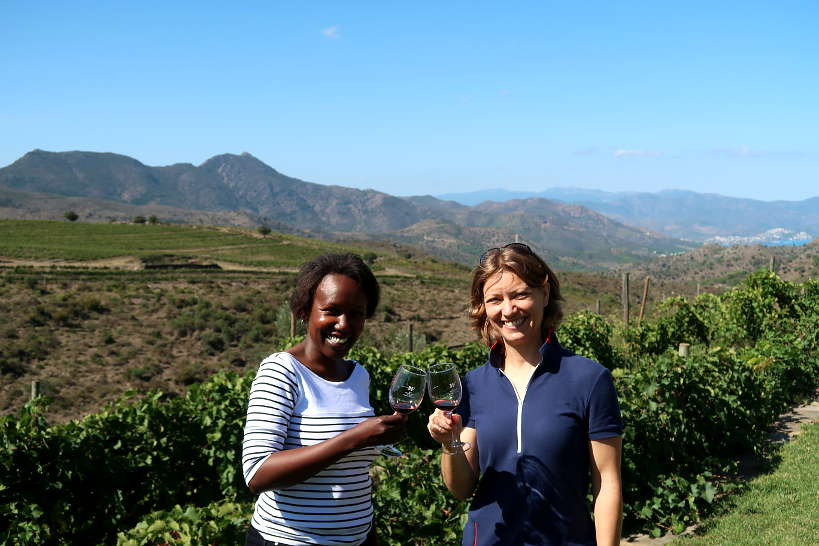 Claire and Rosemary at Martin Faixo Winery in Alt Emporda Wines Spain by Authentic Food Quest