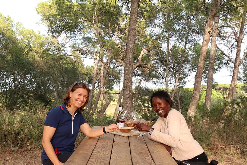 Claire and Rosemary at Mas Geli Winery Emporda Wines Spain by Authentic Food Quest