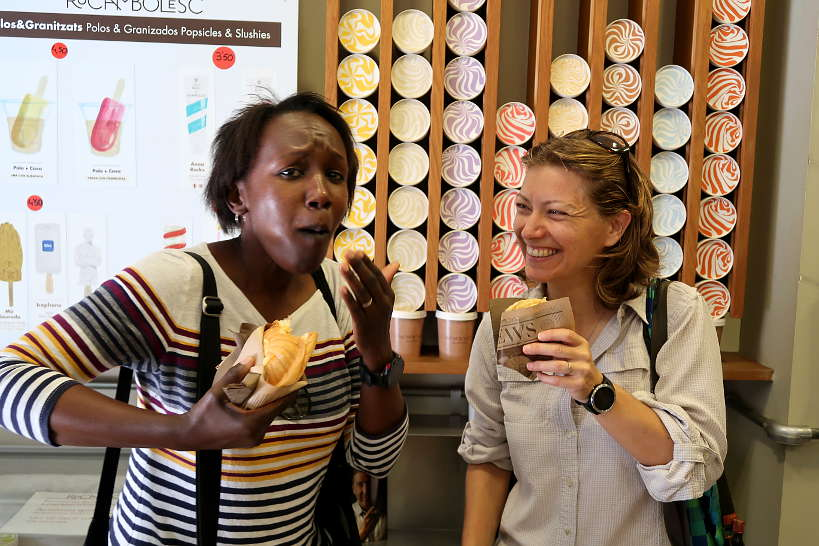 Rosemary and Claire at Rocambolesc Gelateria in Girona by Authentic Food Quest