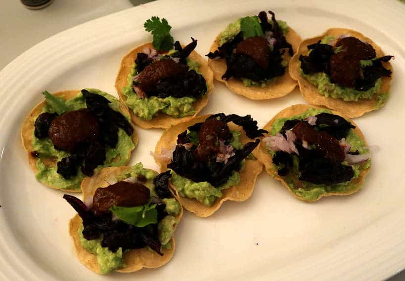 Antijotos with tostadas de Jamaica with guacamole Eat Like a Local Mexico AuthenticFoodQuest