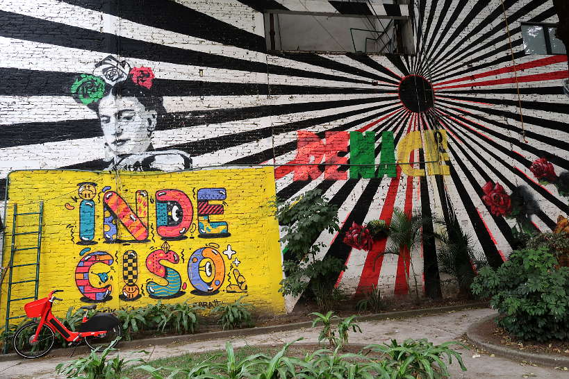 Frida Kahlo Street Art stop during Colonia Roma Food Tour by AuthenticFoodQuest