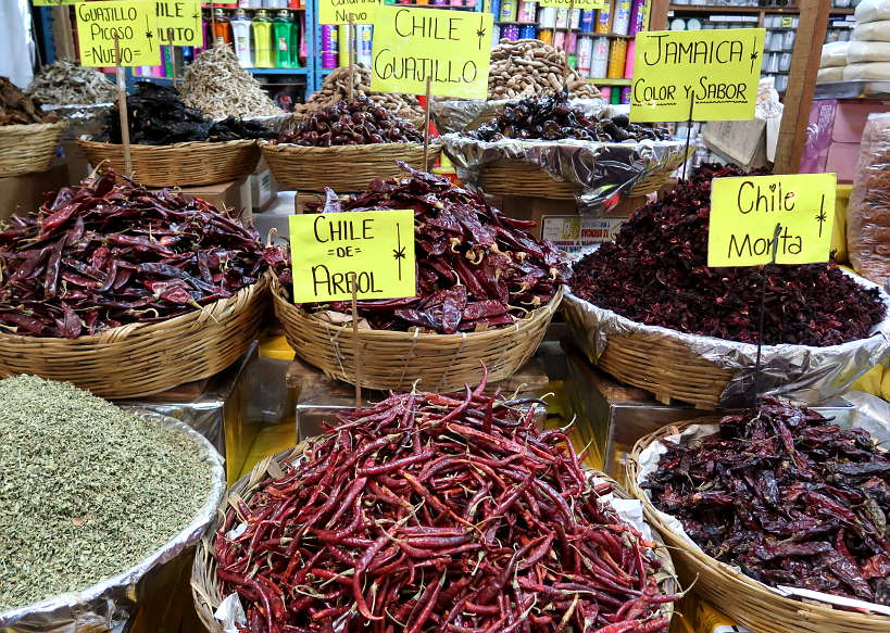 Chile stand at Mercado de Jamaica on a food tour in Mexico City by AuthenticFoodQuest
