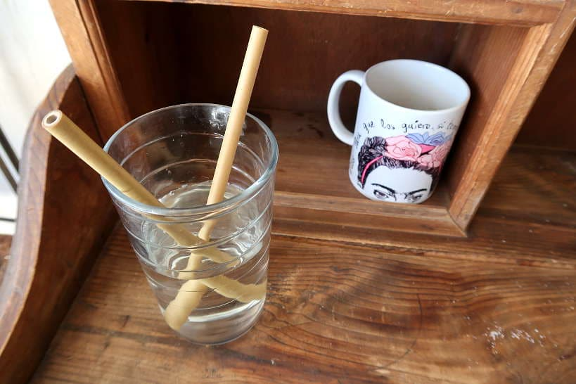 Drinking with bamboo straws to avoid stomach problems after traveling by AuthenticFoodQuest
