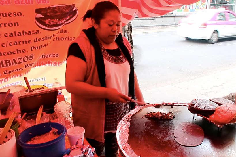 La Marquesa vendor preparing Quesadillas In Mexico City by AuthenticFoodQuest