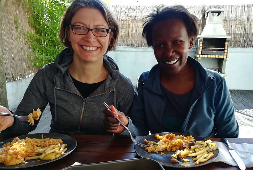 Claire and Rosemary in Porto enjoying Eating Bacalhau a Bras by AuthenticFoodQuest