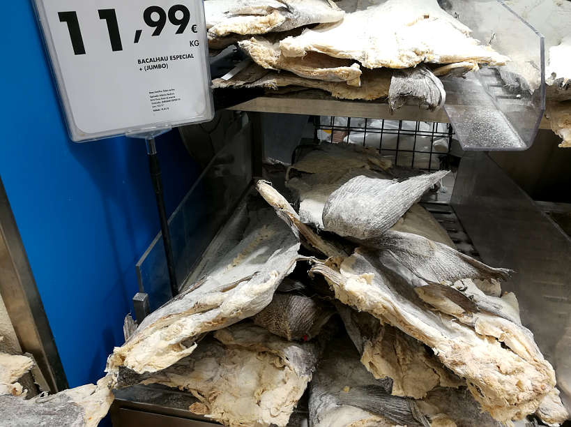 Dried Cod Fish Bacalhau in Porto Supermarket by AuthenticFoodQuest