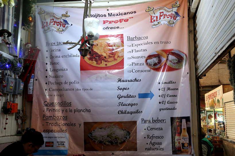 Menu at El Profe at Mercado de Jamaica by AuthenticFoodQuest