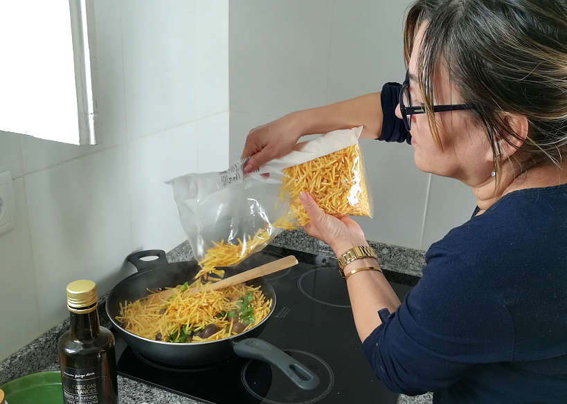 Fatima Cooking Bacalhau a Bras by Authentic Food Quest