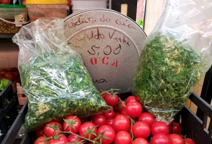 Portuguese Kale at the market in Lisbon for Caldo Verde Recipe by AuthenticFoodQuest