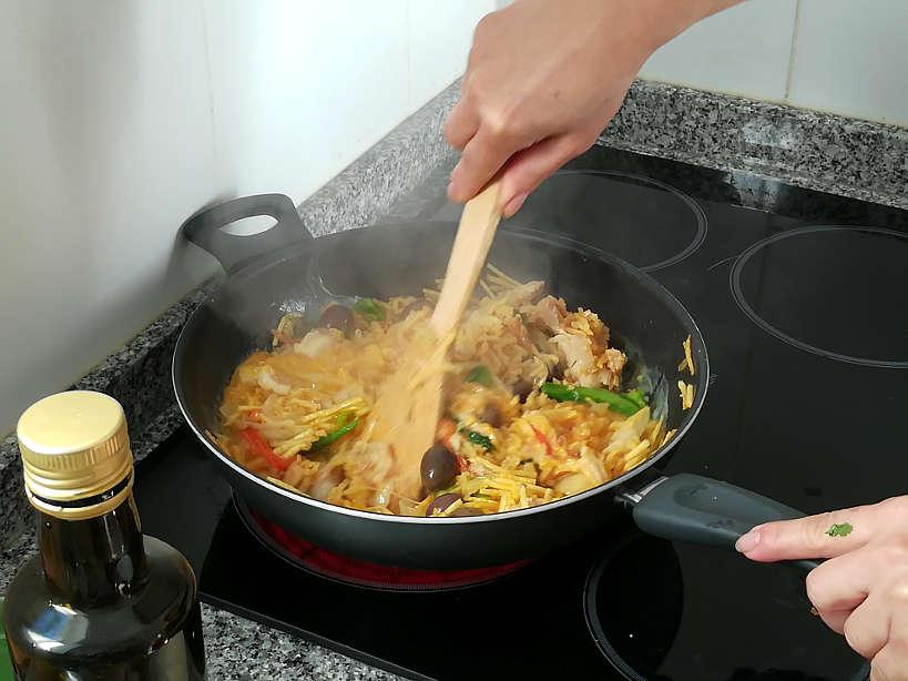Stirring Bacalhau a Bras by Authentic Food Quest