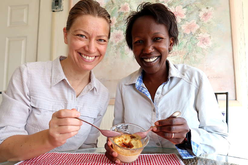 Claire and Rosemary eating homemade jericalla dessert for food in Guadalajara