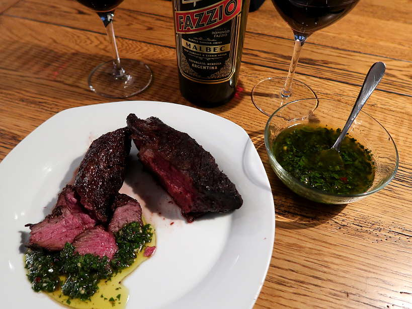 Argentina chimichurri sauce steak and malbec wine for chimichurri recipe by Authentic Food Quest