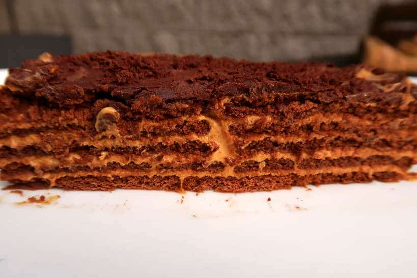 Layers of Chocotorta Argnetina cake by Authentic Food Quest