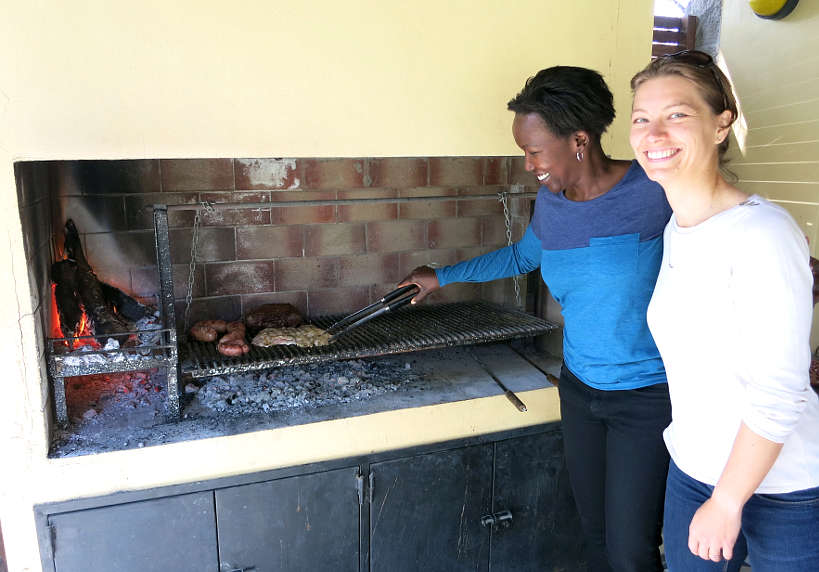 Rosemary and Claire at an Argentina asado for chimichuri sauce by Authentic Food Quest